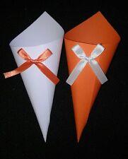 Set 100 Coni portariso/confetti  matrimonio bianco e arancio GIA'MONTATI