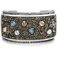 NWT Brighton CRYSTAL ROCKS  Neutrals Gold Silver Hinged Bangle Bracelet MSRP $98