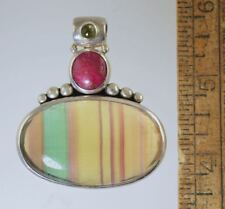 BANDED AGATE GREEN/YELLOW,RUBY,TOURMALINE STERLING SILVER PENDANT ENHANCER #140