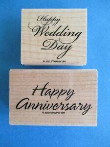 Stampin' Up HAPPY WEDDING DAY Rubber Stamps HAPPY ANNIVERSARY Words