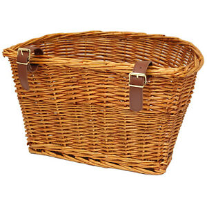 PEDALPRO VINTAGE WICKER BICYCLE BASKET LEATHER LOOK STRAPS BIKE CYCLE SHOPPING