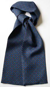 """Silk cravat 40"""" X 4"""" Blue with orange & red Millefiori. Hand made."""