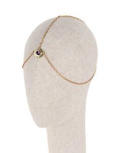 RRP €105 PAMELA LOVE Brass Head Chain Amethyst Stone Solar Detail