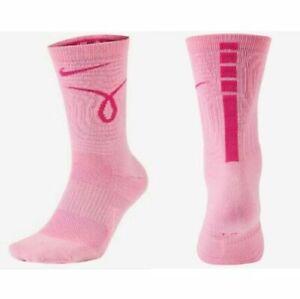 Nike Breast Cancer Awareness Pink Kay Yow Crew Elite Socks Dri-Fit CK6770-632