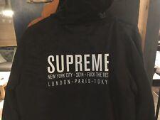 Supreme Satin Twill Pullover Hoodie Black Large 2014