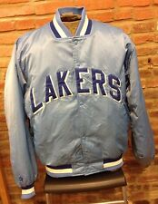 Los Angles Lakers NBA Vintage Blue Satin Basketball Jacket Hardwood Classics