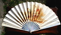 FAN EVENTAIL ANTIQUE IMPORTANT MOTHER OF PEARL STICKS  AND SILK HAND FAN