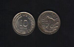 SINGAPORE 10 CENTS KM-3 1967 - 1985 SEA HORSE ANIMAL ASEAN MONEY ONE PIECE COIN