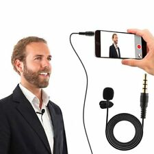 Stereo Jack Plug Microphone Mini Condenser Lapel Collar Tie Clip On Mic Black