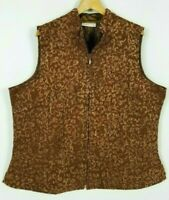 Coldwater Creek Women's 2X Caramel Brown Textured Full Zip Quilted Lined Vest