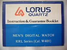 Reloj Digital Vintage LOTUS Cuarzo para Hombre Folleto de instrucciones RRL serie Cal. W401
