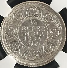 Blast White Silver 1934 (c) British India 1/4 Rupee NGC Certified MS64- Gem