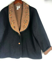 Coldwater Creek Boiled Wool Jacket Coat XL 14 16 Black Brown Embroidered    *