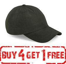 Beechfield LOW PROFILE CAP WAXED WATER RESISTANT ADJUSTABLE HAT COTTON MEN WARM