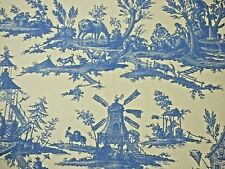 Lee Jofa Designer Toile Pattern Print Wallpaper Blue Paper Craft Projects Bty
