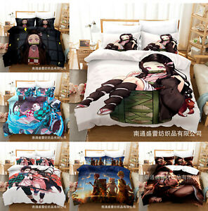 Demon Slayer 3PCS Bedding Set Duvet Cover Pillowcases Comforter Cover US Size