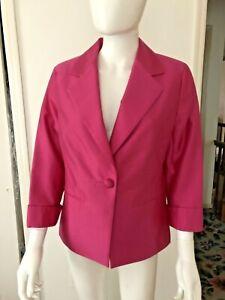 NWT Talbots Fuchsia Grace Fit Silk/Cotton Dress Jacket Sz 8 NEW $199