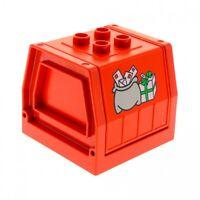 1 x Lego Duplo Eisenbahn Aufsatz Rahmen rot bedruckt Post Briefe Zug Abteil Cont