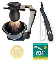 Pure Badger Hair Black Bristle Shaving Brush with Razor Blades Stand & Bowl Set