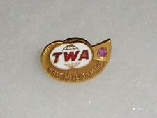 Vintage TWA Trans World Airlines Half Million Miles Service pin marked 1/10 10K