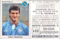 CALCIATORI PANINI 1991/92*FIGURINA STICKER N.231*NAPOLI,CIRO FERRARA*NEW