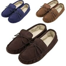 Mens Ladies Soft Sole Real Sheepskin Suede Moccasin Slippers Moccasins Lace Tie