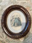 """Vintage Victorian Hand Painted Print 17"""" Tall"""