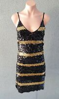 💜 OTTO MODE Cocktail Evening Sequin Dress Black Gold Size M Buy7=FreePost L761