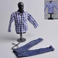 """1/6 Male Clothing Pattern Blue White Shirt Plaid+Jeans Pants Suit F12"""" Figure"""