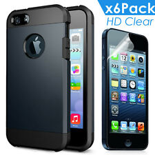 ultra Thin Hybrid Rubber Back Case Cover Apple iPhone 5 5s  PROTECTOR GUARD FILM