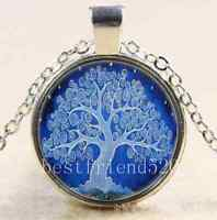 Moonlight  Tree of Life Cabochon Glass Tibet Silver Chain Pendant Necklace