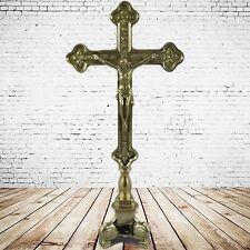 Stehkruzifix CRISTUS Messing H.40x18x8cm man sollte mal wieder sein Kreuz zeigen