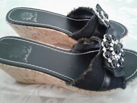 "Yellow Box Maryland Black 2.5"" Cork Wedge Heel Women's Size 7 M Shoes Jeweled"