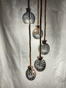Coconut Shell Handmade hanging polished lamp 5 Balls In & Outdoor light setting