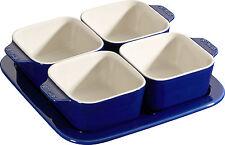 Set Di 3 Staub Ceramica Tapas Set 5 pz Ciotolina quadrati Blu scuro 19 x19cm
