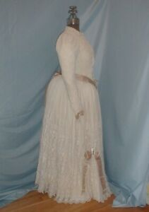 Antique Dress Victorian 1880's White Embroidered Lace Bustle Dress