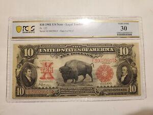 1901 $10 Bison US Note Legal Tender Fr#122 PCGS VF 30