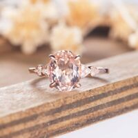 2.10Ct Oval Cut Morganite Diamond Solitaire Engagement Ring 14K Rose Gold Finish