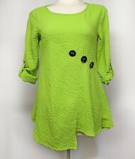 93a73751253ee Ali Miles Lagenlook Top Size Petite Small PS Bright Green Asymmetric Hem  Buttons