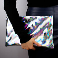 Mirror Holographic Envelope Clutch Hologram Metal Silver Faux Shine Leather Bag