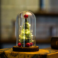 Mini LED Chrismas Tree In Glass Dome Night Light For Chrismas Home Decor Gift