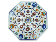 "15"" White Marble Coffee Table Pietradura Marquetry Inlay Arts Decor Furniture"
