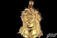 Real Genuine 10k Yellow Gold Diamond Cut JESUS FACE HEAD Pendant Charm Piece