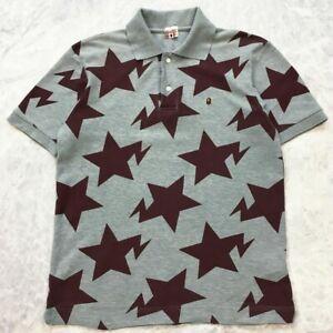 A BATHING APE Bape BROWN Stars HEATHER GREY Polo Shirt