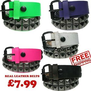MENS WOMENS GOTHIC PYRAMID STUDDED REAL LEATHER HANDMADE LEATHER BELT