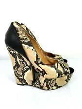 L.A.M.B Python Leather Women Shoes Wedge Platforms Pumps Peep Toe sz 5.5 M US