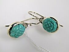 Carved Turquoise Earrings Artisan Crafted Sterling