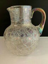 "VINTAGE  LARGE CLEAR CRACKLE GLASS  81/2""  PITCHER"