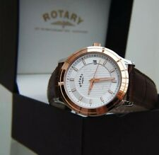 Rotary Mens Watch Rose Gold pl. Slim ,Brown Leather New Boxed RRP£160 Ideal Gift