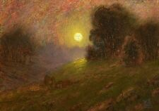 ORIGINAL LUMINOUS TONALIST MOONLIT MOONLIGHT LANDSCAPE OIL PAINTING MAX COLE